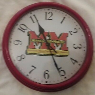 "New Minneapolis Moline Tractor Logo Clock 10"" Diameter Red Case with Glass Face"