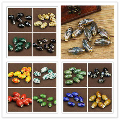 10pcs Chic Oval&Olives Ceramic Porcelain Loose Spacer Beads Jewelry Findings