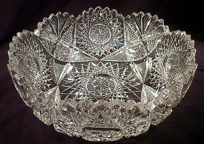 Very Exceptional American Brilliant Period Antique Cut Crystal Bowl