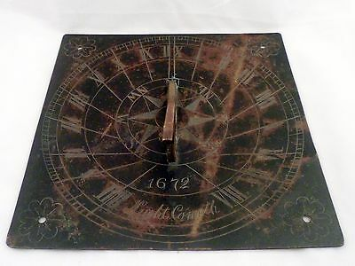 Extremely Rare Late 1600's Sundial, Night Cometh, 1672
