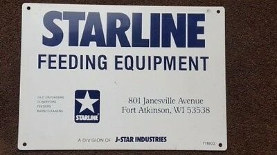 Metal STARLINE Feeding Equipment Sign Farm Silo Barn Fort Atkinson Wi