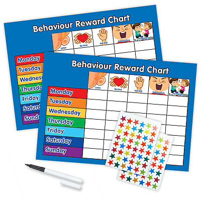 BEHAVIOUR REWARD CHART WITH FREE PEN STAR STICKERS MAGNETIC AVAILABLE Blue/Blue