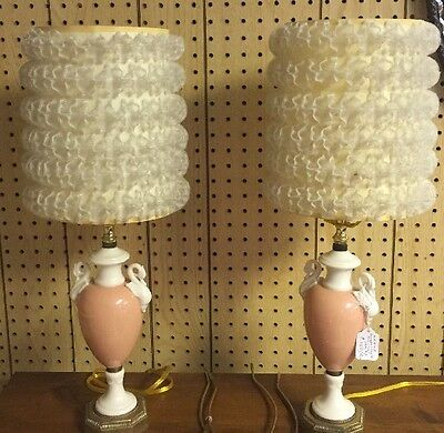 Antique Pair of Lenox Green Mark Swan Lamps Rewired 3 Way Excellent