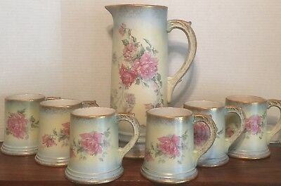 ANTIQUE 7 PC. TANKARD BEER STEIN MUGS CUPS Ca 1894-1912 USA EXCELLENT