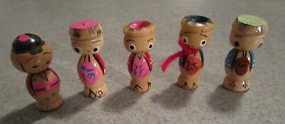 Vintage Antique Wooden Figures Marked JAPAN & NWA Also a Kokeshi All are 1 3/4""