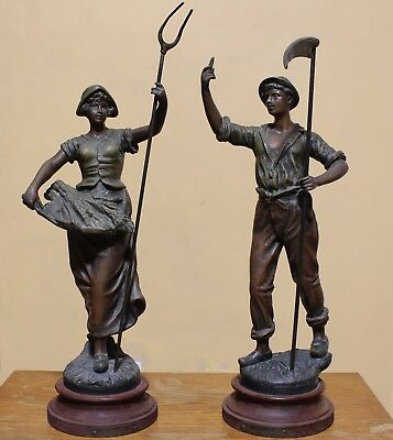 Large Pair of Bronzed Spelter Figures Emile GUILLEMIN Corn Field Workers