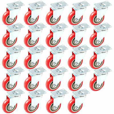 "24 Pack Caster Swivel Plate w/ Brake On Red Polyurethane Wheels (4"" no brake)"