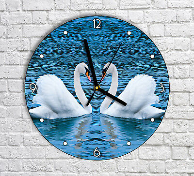 Beautiful Swan Swans In The Lake - Round Wall Clock For Home Office Decor