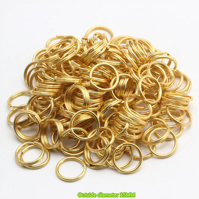 Lot Of 15MM Gold Plating Color Split Key Ring Double Jump10 100 200 1000 2000PCS