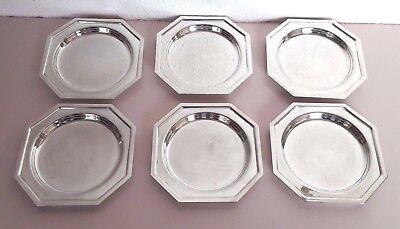 Vintage Set of Six Octagonal Silver Plate COASTERS