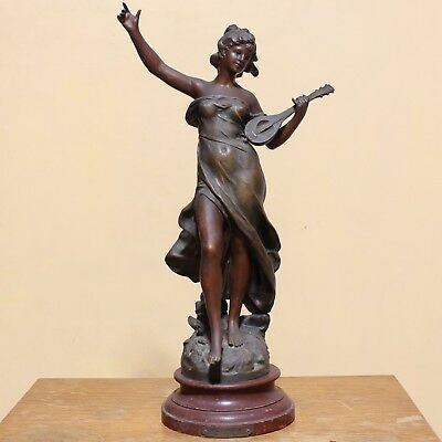 Large Bronzed Spelter Figure 'Melodie' after Auguste Moreau