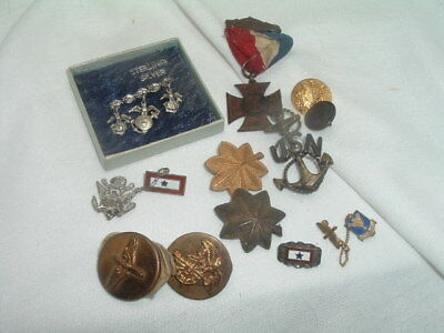 Collection of WW2 US Badge Sterling Silver Pin & Medals & Buttons