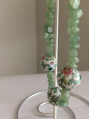Vintage Jade Quartz Green Nugget Necklace with Ceramic Painted Floral Beads