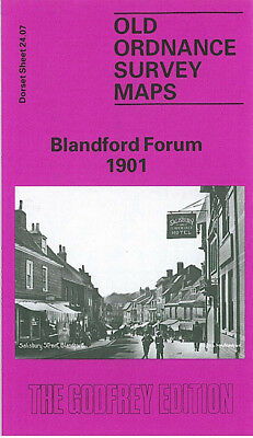Old Ordnance Survey Map Blandford Forum 1901 Bryanston Park St Martins
