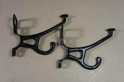 Vintage 2 x large cast iron coat hooks with number boxes