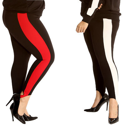 New Womens Pants Plus Size Ladies SKI Style Side Stripe Trousers Ankle  Support 0a75a6e3739