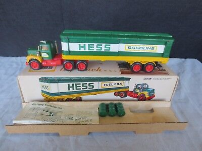 Vintage 1975 Hess Tractor Trailer Truck Oil Barrels (3), W/ Box & Inserts-Minty