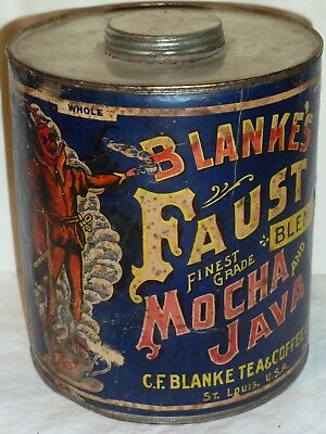 Blanke's Faust Mocha Java Coffee Tin Can Vintage