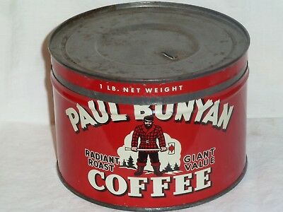 Paul Bunyan One 1 Pound Coffee Tin Can Vintage Key Wind
