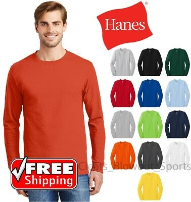 Hanes Tagless Long Sleeve T-Shirt Comfort Cotton Soft Plain Blank Tee Mens 5586