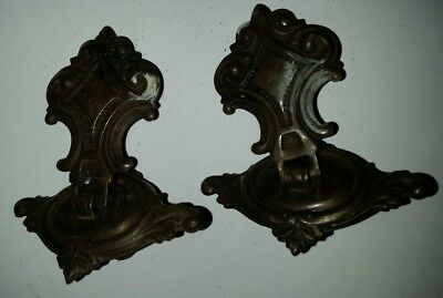 2 Vintage Brass Ornate Dresser Drawer Drop Pulls