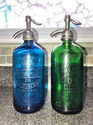 Two Beautiful Blue And Green Antique Seltzer Bottle From Brooklyn