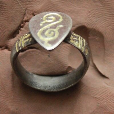 L6 Ancient Medieval Silver Ring gold plate D size=19mm  Quality  9g