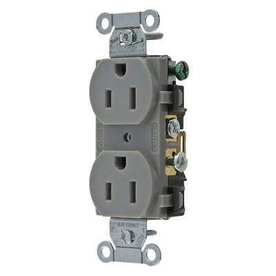 BRYANT Receptacle,Gray,15A,Duplex Outlet,Nylon, CBRS15GRY