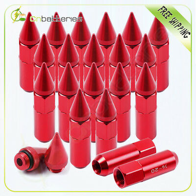 20 Pcs Red 1/2-20  Extend Forged Aluminum Tuner Racing Lug Nut 60MM For Mustang