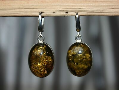 Authentic Green Baltic Amber Earrings 925 Sterling Silver - Pendant Available