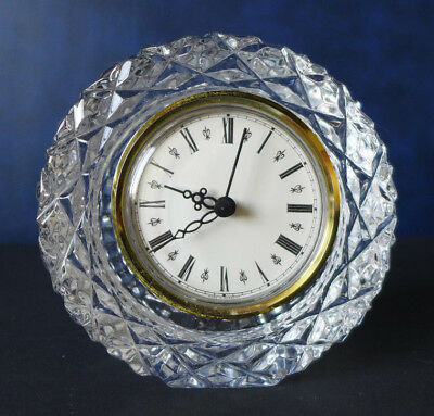 Tyrone Crystal Clock. Not Tested. Height 10cm.