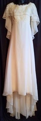 Vintage Ivory Chiffon Pearl Beaded Lace Wedding Dress Attached Cape & Train XS/S