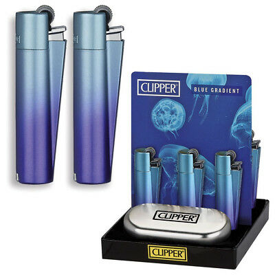 Clipper Blue Gradient Lighters With Metal Tin Case Gas Refillable Pocket Lighter