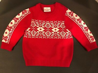 Hannah Andersson Red / White Holiday Nordic Sweater Size 80 / 2T