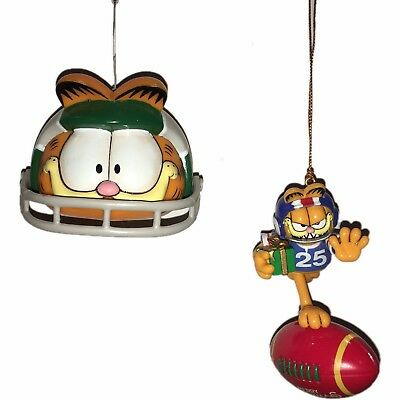 Lot of 2 Garfield Sports NFL Football Christmas Ornaments PAWS 1996