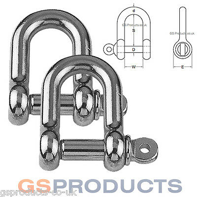 2 x 4mm D Shackle Stainless Steel Dee Rigging AISI 316-A4 FREE P+P