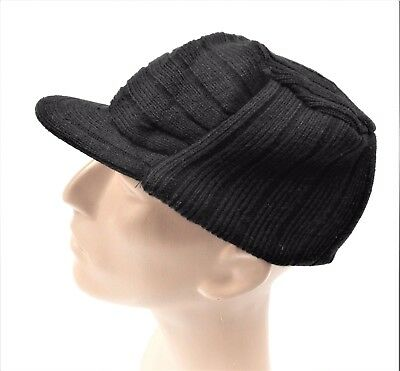 997b94ef Men's Cadet Hat Knit Winter Cap with Brim Military Style Choice of Colors