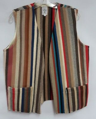 Ortega's New Mexico All Wool Hand Woven Striped Pocket Vest Size L