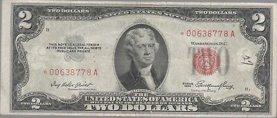 1953- $2 ** STAR ** Red Seal Note Two Dollar Bill VG - F OLD CURRENCY OLD MONEY