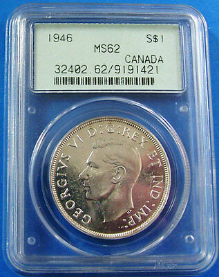 1946 MS 62 Canada Silver Dollar PCGS Certified Canadian $1 Coin