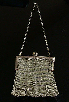 Vintage Antique Victorian Silver Mesh Purse Handbag