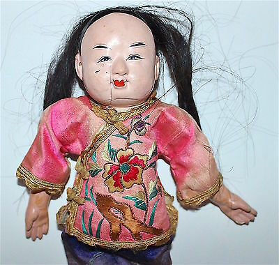 """1900s Antique Chinese Doll 10"""" Embroidered Silk Clothes Compo Head Human Hair"""