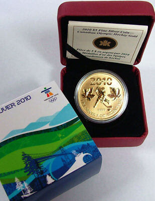 2010 $5 1oz Fine Silver Canadian Olympic Hockey Gold Coin Vancouver RCM Box COA