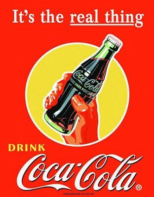 Vintage Coca Cola Tin Sign Coke Real Thing Bottle Classic Metal Poster Print NEW