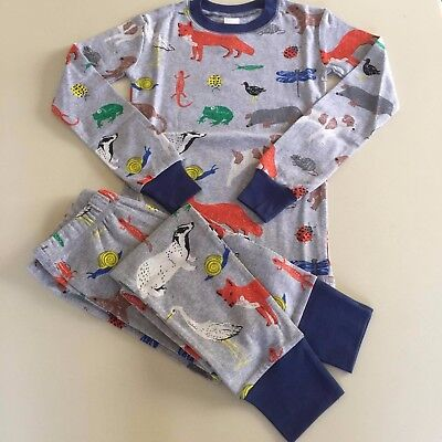 "Mini Boden AWESOME Boys Grey ""ANIMALS"" Pajama Set, 6-8 years. NEW!! SO COOL!"