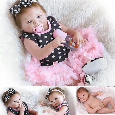Handmade Silicone Vinyl Reborn Baby Toys Girl Lifelike Dolls Newborn 23'' dress