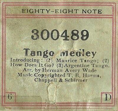 Tango Medley, Maurice, Argentine, etc, Wade Eighty-Eight Note 300489 Piano Roll