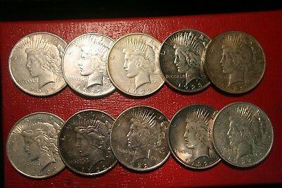 10 (Ten) Peace Silver Dollars, 90% US Coin Lot, Better Grades , Assorted Dates