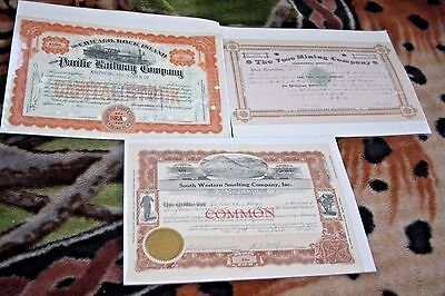 3 Stock Certificates Vose Mining Western Smelting Pacific Railway Companies
