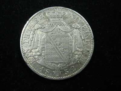 1 old world SILVER coin GERMANY STATES SAXONY Thaler 1852F KM1175 FREE S&H